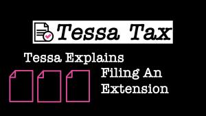 Filing An Extension Video   Tessa Tax